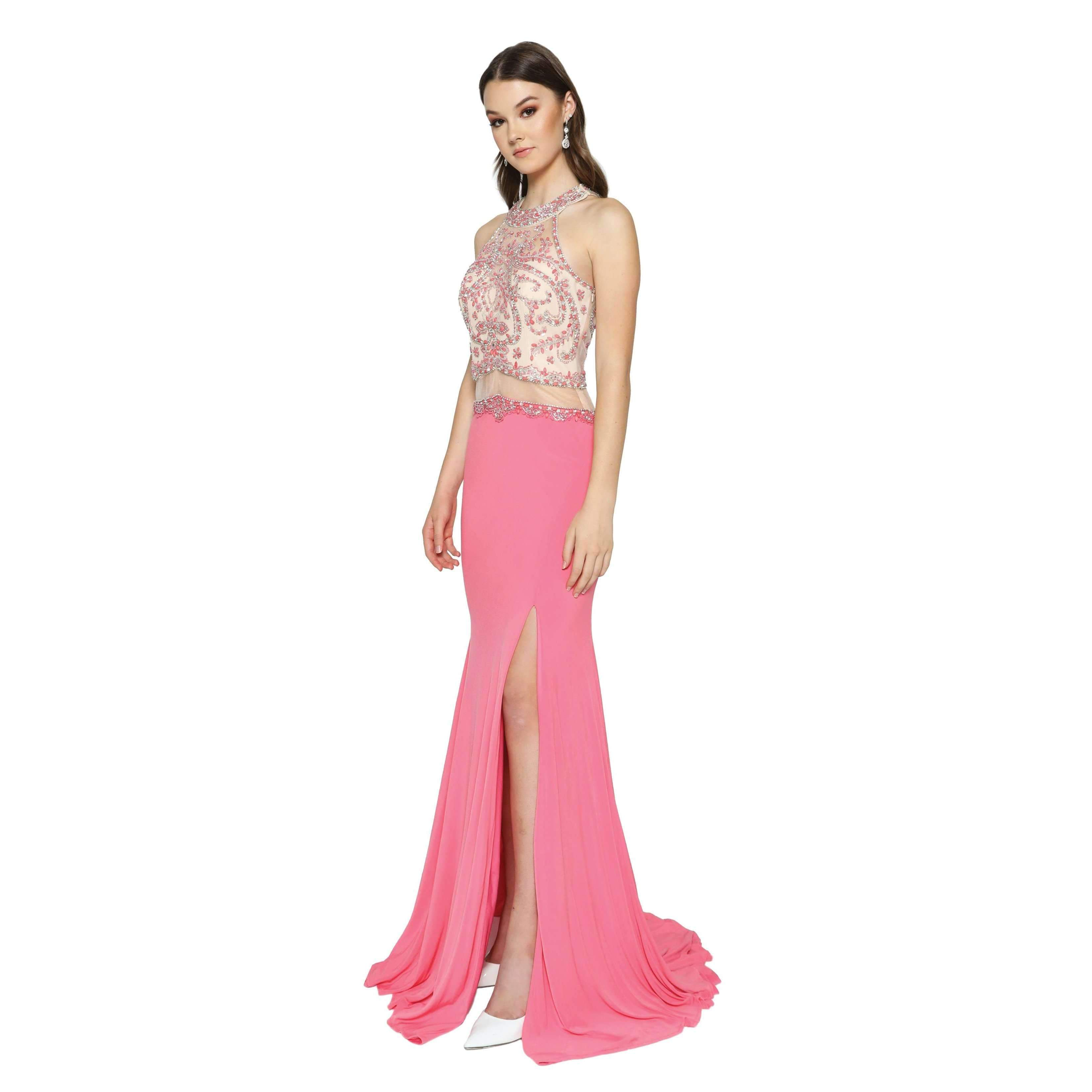 Tight fitted prom dress with high slit 105-620 – Simply Fab Dress