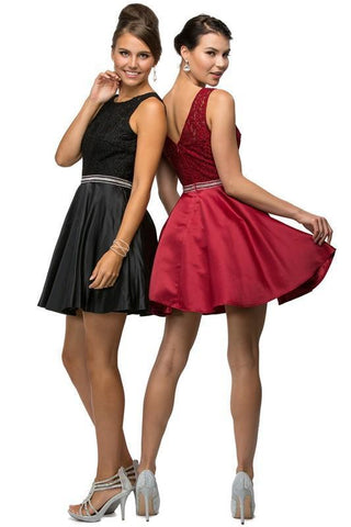 Black lace top short satin homecoming dress DQ9503 - Simply Fab Dress