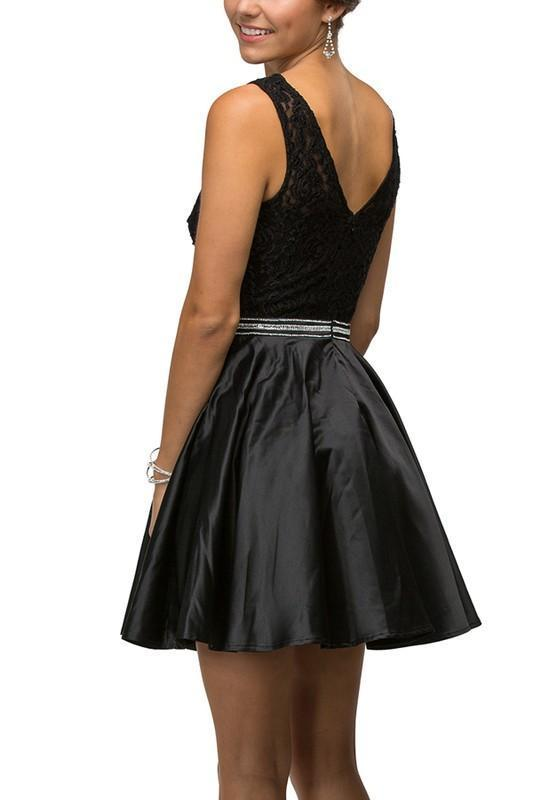 Short lace top satin black cocktail dress – Simply Fab Dress