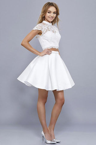 Cap sleeve white homecoming dress  #nox anabel 6301 - Simply Fab Dress