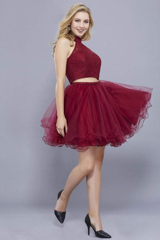 Burgundy homecoming dress with short tulle shirt #nox anabel 6354 - Simply Fab Dress