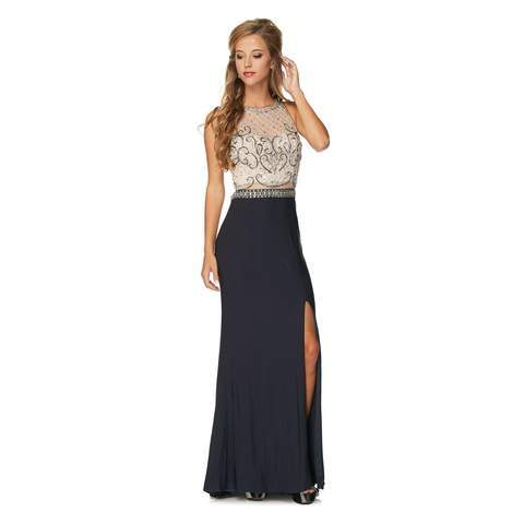 Sexy long evening gown with high slit 105-639