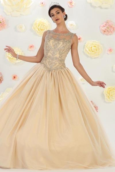 Lace embellished bodice quinceanera dress #mq lk75 - Simply Fab Dress