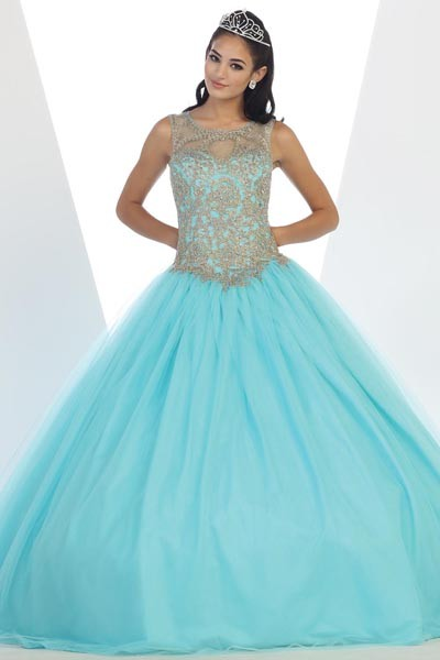 feb16b9d16b Gold lace top cheap quinceanera Dress Mayqueen LK72 - Simply Fab Dress ...