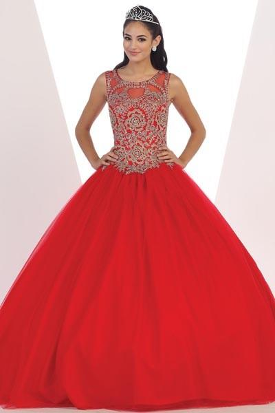 Red Gold lace top cheap quinceanera Dress  Mayqueen LK72 - Simply Fab Dress