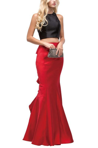 Two piece long prom dress with ruffles dq9767