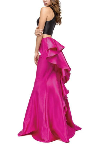 2 piece long prom dress with ruffles dq9767