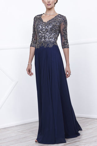 Sheer illusion long sleeve chiffon evening dress #nox5144 - Simply Fab Dress