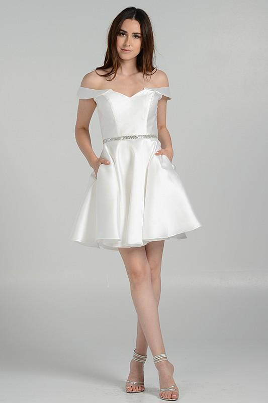 Short White satin homecoming prom dress #pol 7948 – Simply Fab Dress