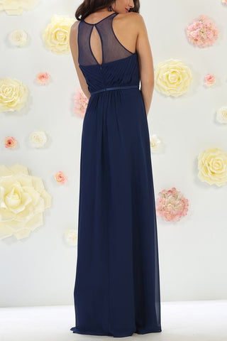 Sheer illusion neckline cheap long bridesmaid dress mq1442 - Simply Fab Dress