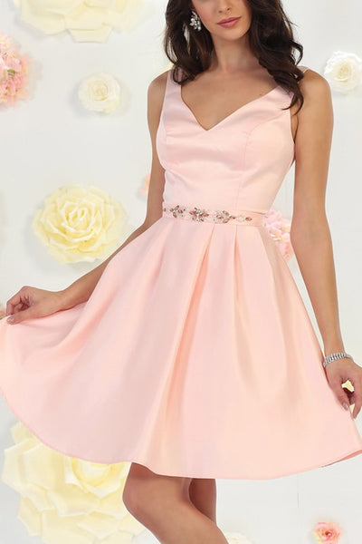 Pink short prom dress Mq1477-Simply Fab Dress