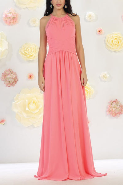 Halter neckline cheap long chiffon bridesmaid dress mq1479 - Simply Fab Dress