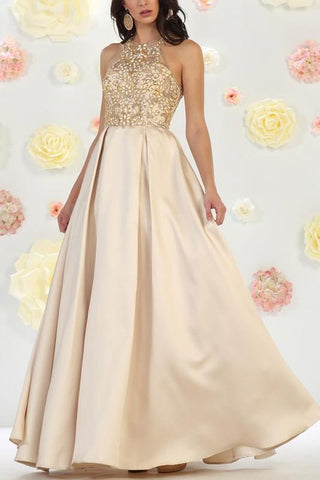 Beautiful Halter neckline a-line ball gown formal and prom dress  #Mq rq7481 - Simply Fab Dress