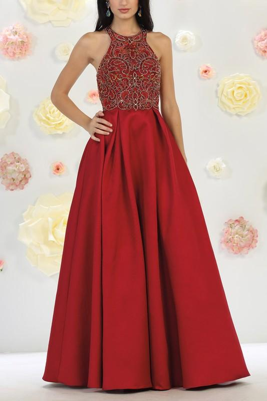 Beautiful Halter neckline a-line ball gown formal and prom dress #Mq ...