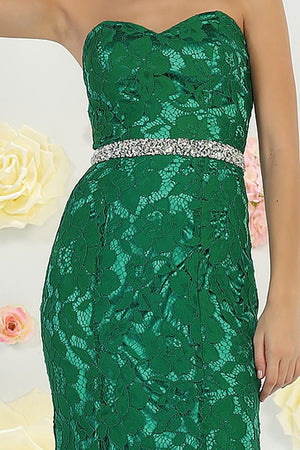 Strapless sweetheart neckline lace bridesmaid dress #RQ7488 - Simply Fab Dress