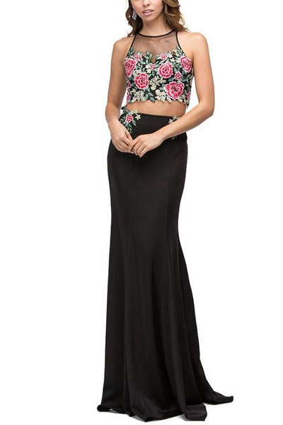 Black floral dress & crop top prom dress DQ9796-Simply Fab Dress