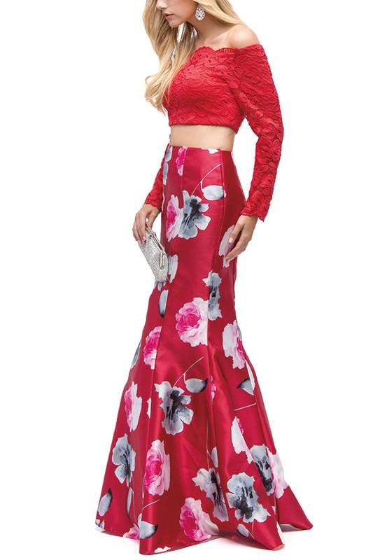 Long sleeve two piece floral dress Dq9862 - Simply Fab Dress