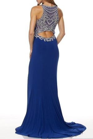 Fitted long prom dress with slit  juliet 616-Simply Fab Dress