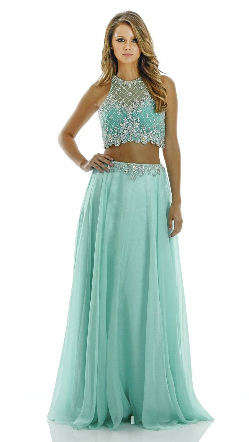 Two Piece Halter Top Prom Dress poly 7012