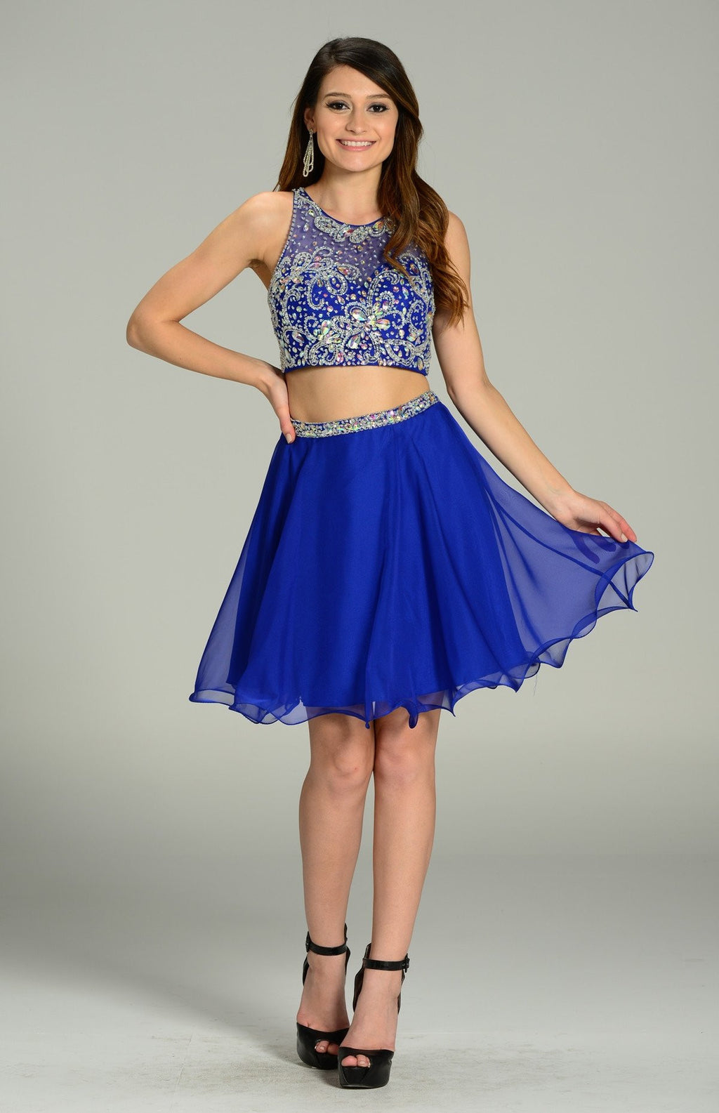 Beaded Bodice Two Piece short prom dress pol#7097 - Simply Fab Dress
