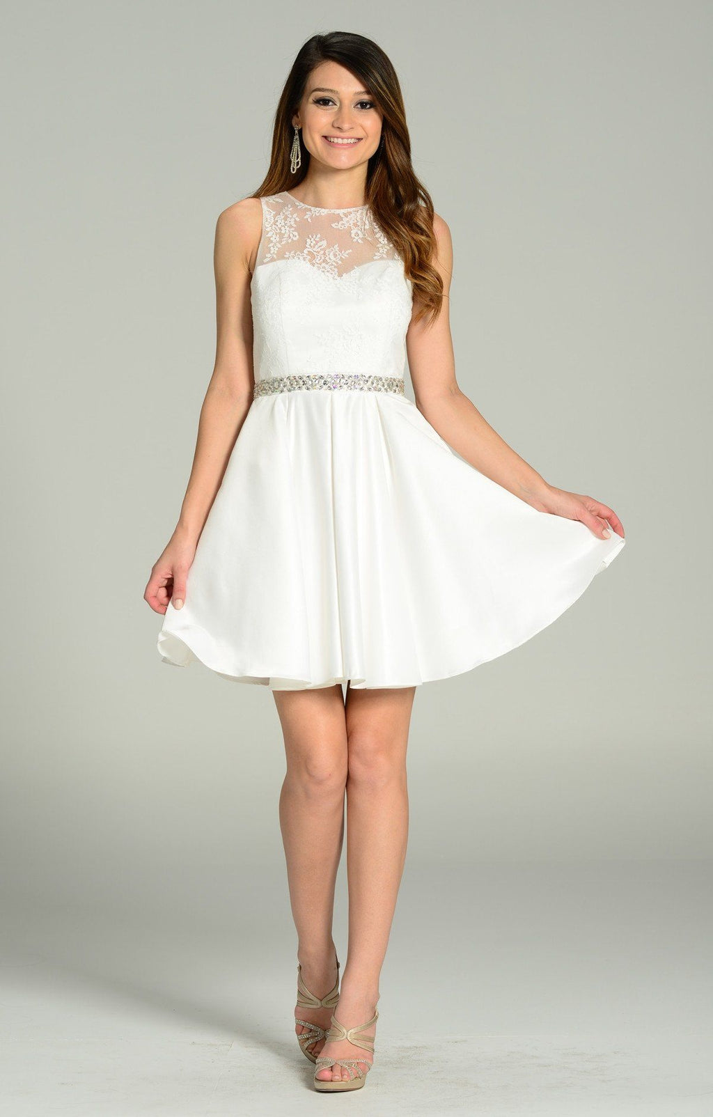 Lace bodice short white dress 101-7214 - Simply Fab Dress