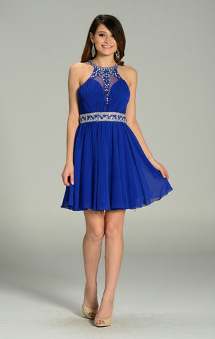 Tea length chiffon homecoming dress pol#7236 - Simply Fab Dress
