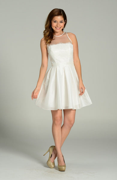 lace bodice tea length white formal dress pol#7238 - Simply Fab Dress
