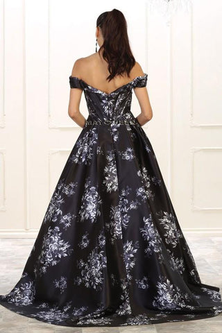 Off the shoulders floral prom dress  RQ7500-Simply Fab Dress