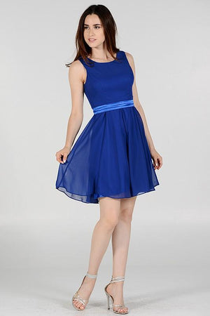 Plus size short homecoming dress accented with satin belt poly#7290 - Simply Fab Dress