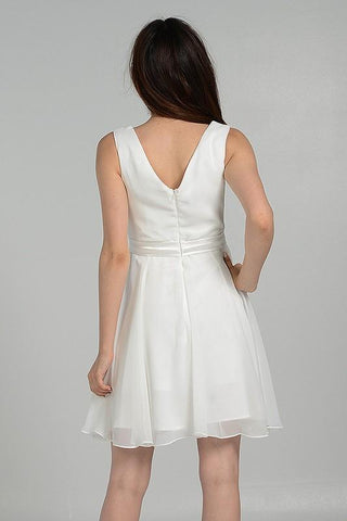 sleeveless Ivory short homecoming dress accented with satin belt #po7290 - Simply Fab Dress