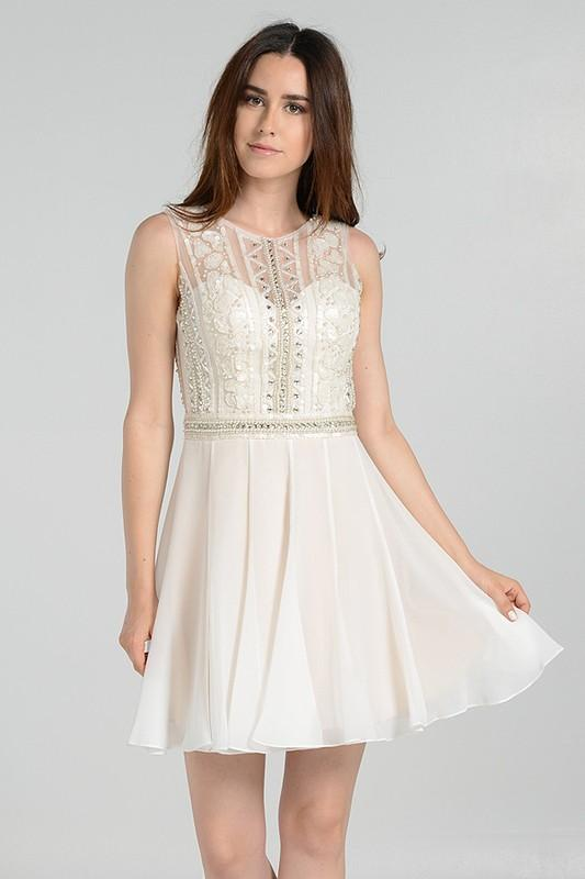 Embellished bodice ivory chiffon homecoming dress poly # 7538 - Simply Fab Dress