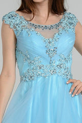 Sparkling beaded bodice cap sleeve plus size formal and homecoming dress #poly8098 - Simply Fab Dress