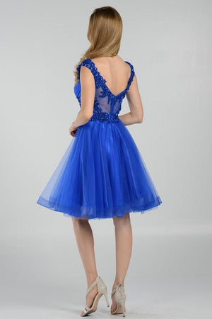 Royal blue cap sleeve formal and homecoming dress #POL8098 - Simply Fab Dress