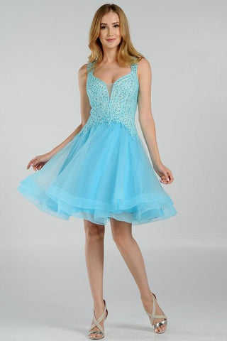 Trendy embroidered bodice short homecoming dress poly#8072 - Simply Fab Dress