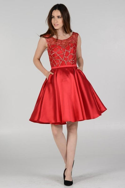 Sheer illusion sweetheart neckline gold sequins bodice red homecoming dress poly #8040 - Simply Fab Dress