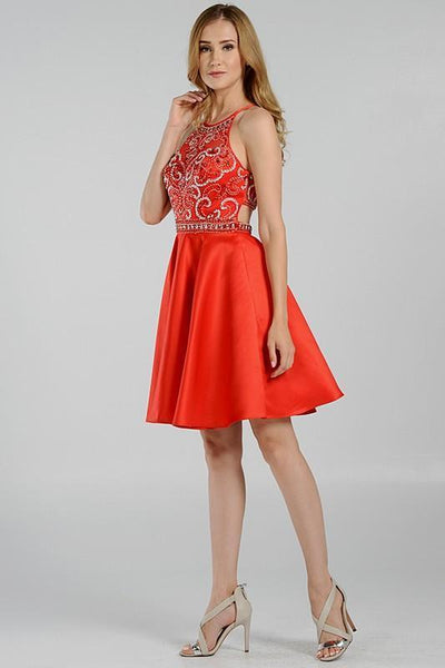 Stunning beaded halter neckline formal homecoming dress poly #8038 - Simply Fab Dress