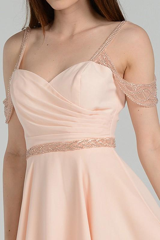 Off the shoulder elegant short chiffon formal dress poly #8028 - Simply Fab Dress