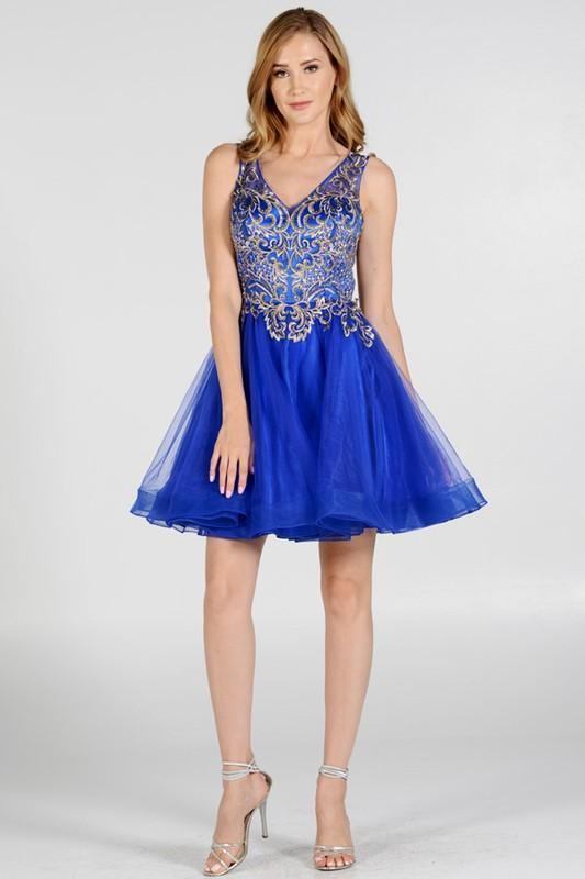 Royal blue gold leaf embroidered bodice homecoming dress Poly#7982 - Simply  Fab Dress ...