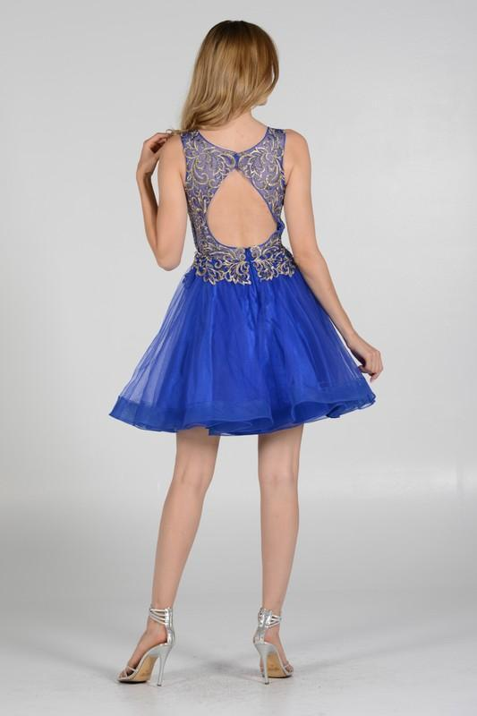 Royal blue gold leaf embroidered bodice homecoming dress Poly#7982 - Simply Fab Dress