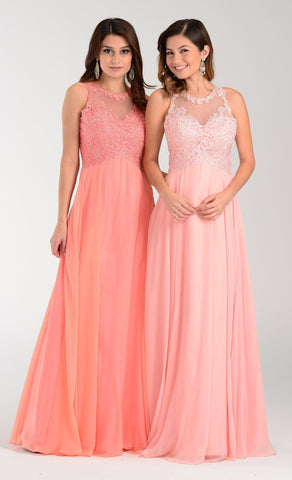 Lace bodice floor length chiffon bridesmaid dress pol#7454 - Simply Fab Dress