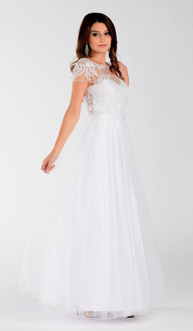 simple tulle wedding dress with deep plunging back pol#7482 - Simply Fab Dress