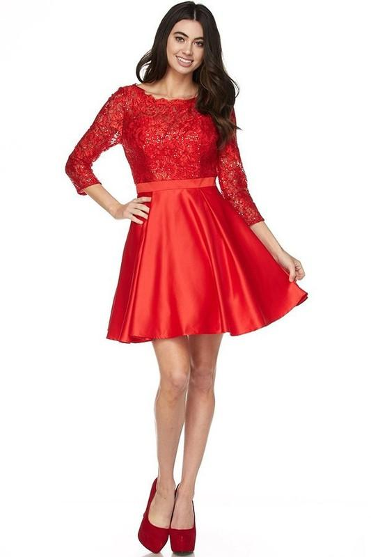Long sleeve short formal dress js796-Simply Fab Dress