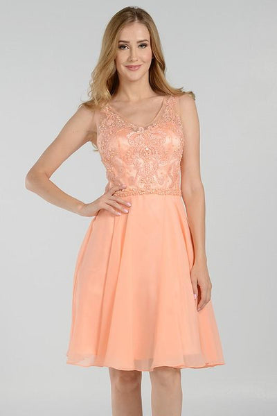Coral pink beaded bodice short homecoming dress with chiffon skirt poly#7564 - Simply Fab Dress