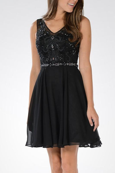 Black v cut neckline beaded bodice short homecoming dress with chiffon skirt #poly 7564 - Simply Fab Dress