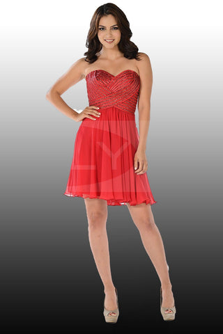 stylish rhinestone beaded top red homecoming dress with trendy side pockets pol#8100