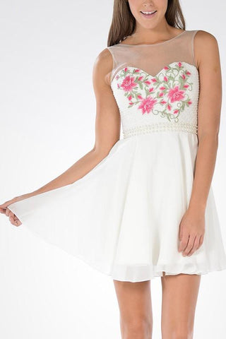 white floral short homecoming dress  # poly 7854 - Simply Fab Dress