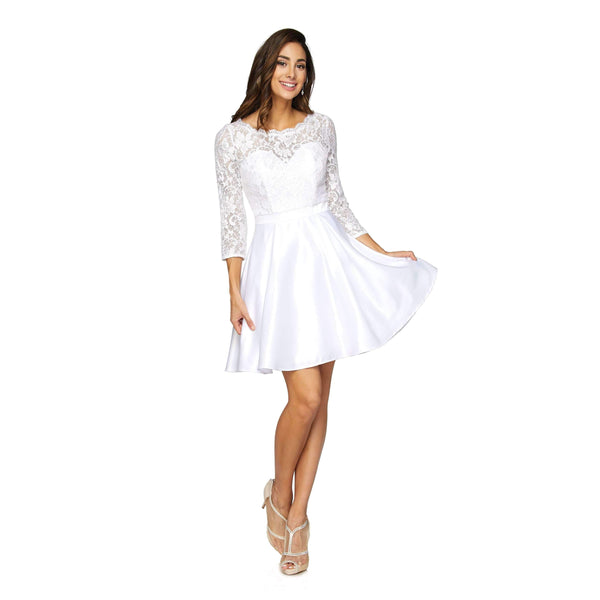 White long sleeve short wedding dress js796-Simply Fab Dress