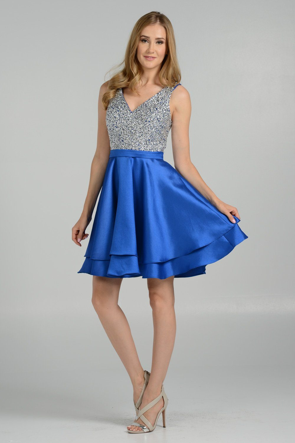 Beaded sequins bodice royal blue homecoming dress - Simply Fab Dress