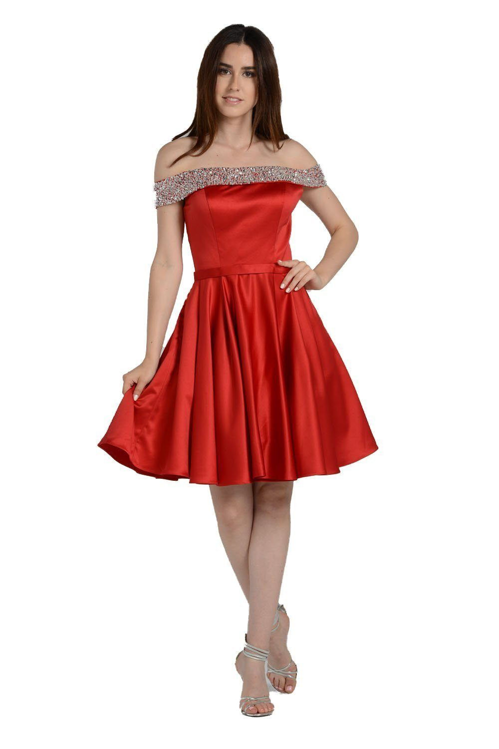 Beautiful off the shoulders trendy satin homecoming dress poly #8138 - Simply Fab Dress