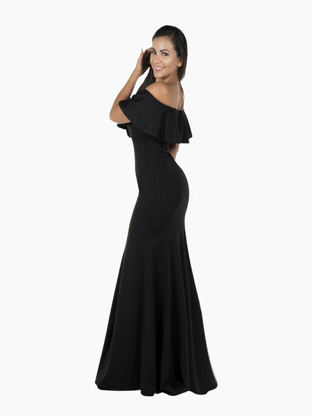 Off the shoulder fitted formal dress POL#8146